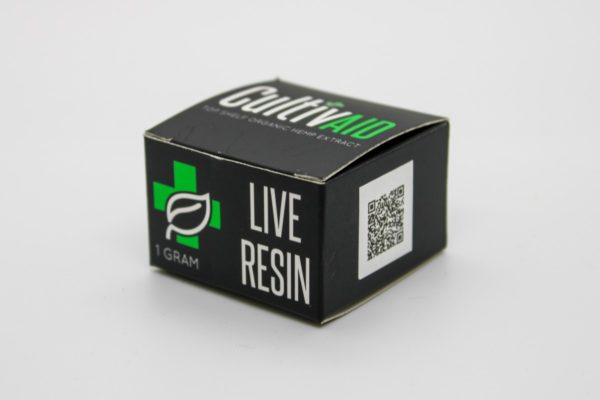 Cultivaid Live Resin box side view with QR code
