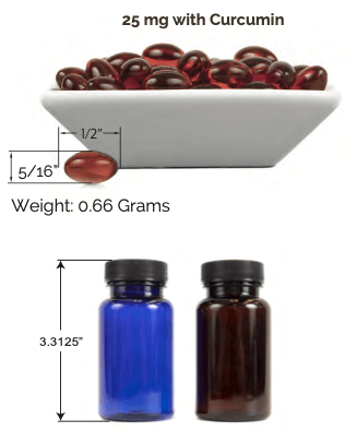 Hemp Soflgels with curcumin photo showing dimensions of 10mg and 25mg softgels