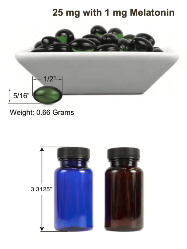 Hemp Softgels with 1 mg Melatonin - diagram showing softgels and bottles with dimensions