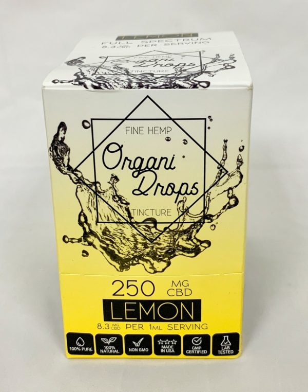 OrganiDrops Lemon 6-pack 250mg box closed