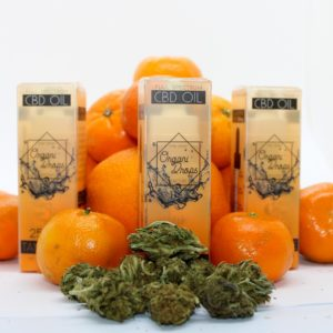 OrganiDrops Tangerine boxes with tangerines and hemp flower