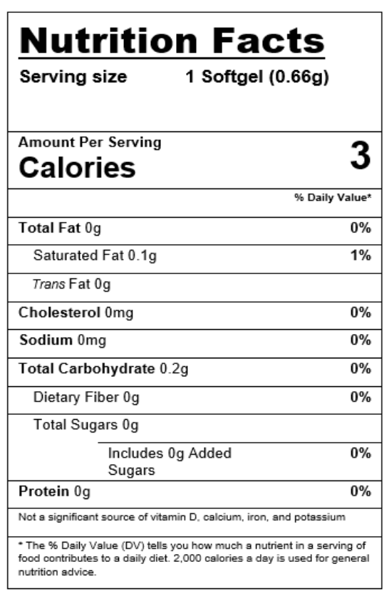 Softgel Nutrition Facts sheet