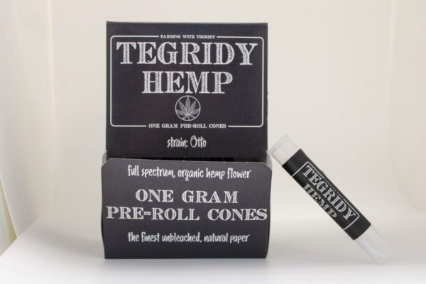 Box of Tegridy Hemp Pre-Roll Cones with single pre-roll